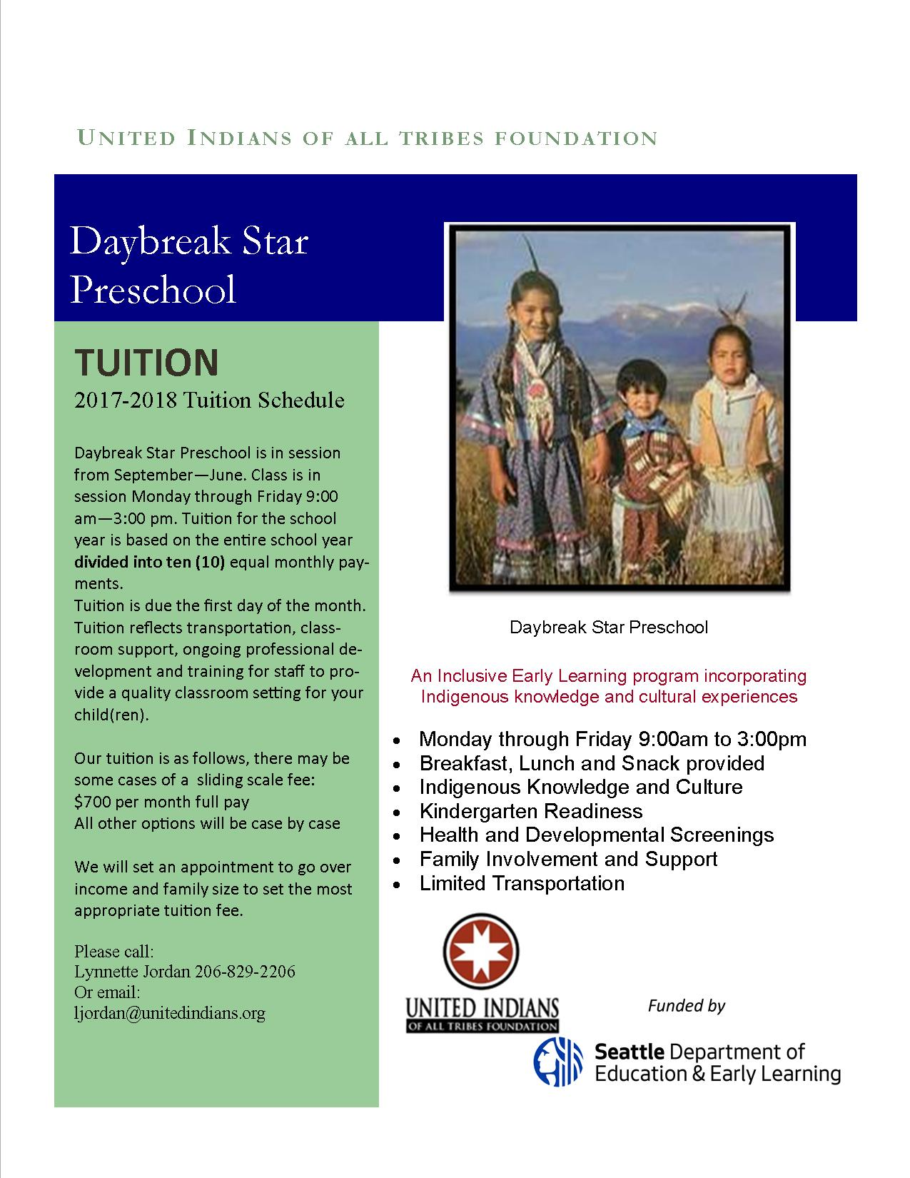 Daybreak Star Preschool tuition 2017-2018 (2)